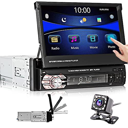 Autoradio 1 Din, Hikity Bluetooth Autoradio 7 Pollici Touch Screen FM Stereo per Auto supporto AUX-in USB TF card + Rear View Fotocamera