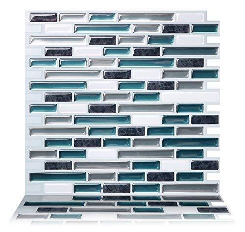 Tic Tac Tiles 10-Sheet Peel and Stick Self Adhesive Removable Stick On Kitchen Backsplash Bathroom...