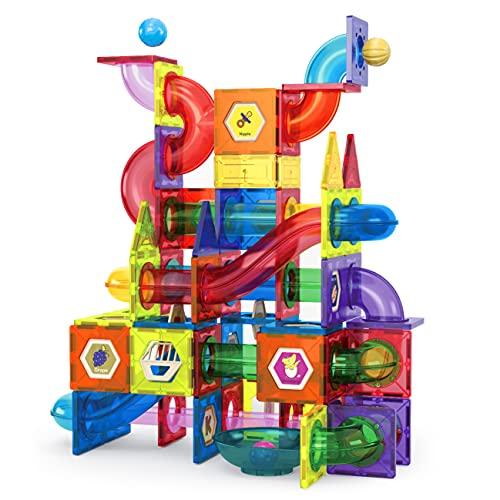 Huaker Magnetic Tiles Blocks for Kids, 160Pcs Magnetic Building Blocks Toys for Kids 3D Educational STEM Toys Marble Run Set for 3 4 5 6 7 8 9 Year Old Boys Girls Gifts