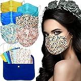 MVT - 60x Mascarilla Protectora Higiénica Desechable UNE 0064-1:20 3 capas Colores y Estampados Variados + Mask Case de tela color aleatorio (2)