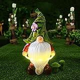 Solarstatue Für Garten Mit LED-Leuchten,LUOWAN Großer Lustige Gartenzwerg GNOME Wetterfest aus Kunstharz mit Hula Hoop Gartenwichtel Gartendeko Figuren Für Lawn,Yard,Housewarming Party Ornament Gift