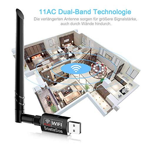 SoataSoa WLAN Stick,WLAN Adapter 1300Mbit/s(5.8G/867Mbps+2.4G/400Mbps),WiFi Adapter USB 3.0 AC Dualband Wireless WiFi Stick,USB WLAN Stick,Kompatibel mit Windows 7/8/8.1/10/XP und Mac OS X