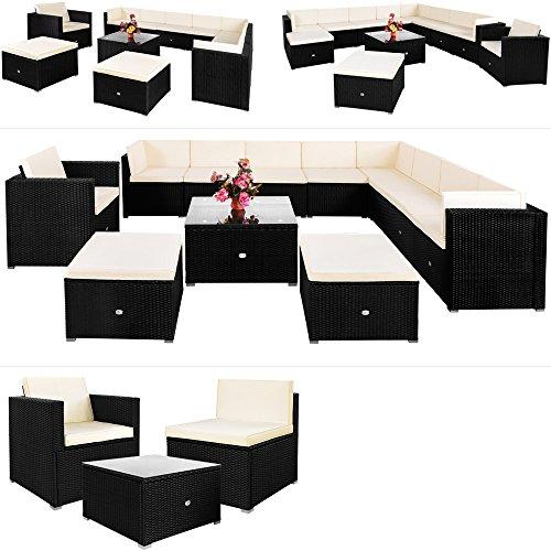 Deuba Poly Rattan Lounge Set XXXL 7cm Dicke Auflagen Tisch Sessel Kombinierbar Schwarz Garten Terrasse Möbel Ecksofa
