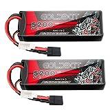 GOLDBAT 2S Lipo 5200mAh 7.4V LiPo Batería 50C RC Paquete de batería Hardcase para RC Car Evader Bx Car Helicopter, RC Truck RC Truggy Boat Hobby (2PACKS)