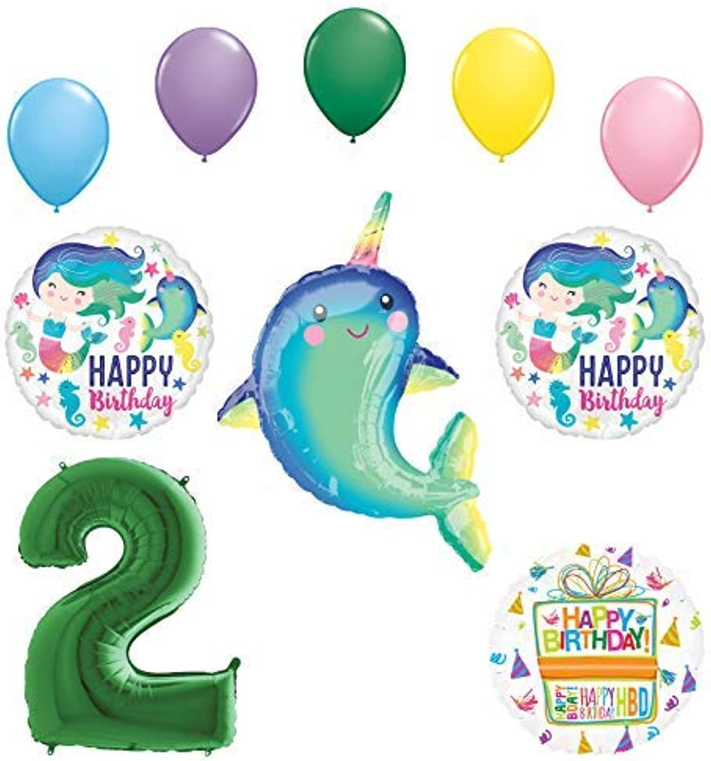 Mayflower Products Mermaid and Narwhal Party Supplies 2nd Birthday Balloon Bouquet Decorations