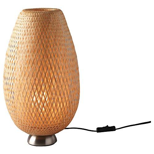 Ikea Böja - Lámpara de mesa (ratán, niquelada, sin bombilla)