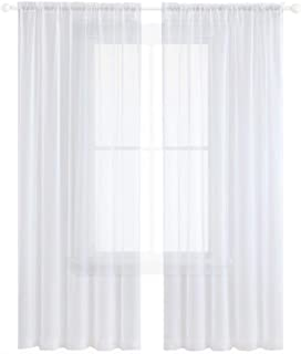 Anjee White Sheer Chiffon Curtains, 96 inches Long Sheer Curtain for Living Room, Bedroom, Rod Pocket, 2 Panels, W52 x L96 Inches, Super Soft