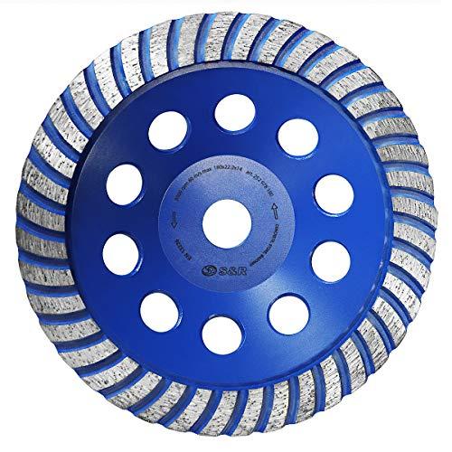S&R Muela de copa Diamante 180 x22,23 mm/Disco Diamantado 180 para lijar UNIVERSAL: Hormigón Mármol Granito Piedra Ladrillo Mampostería Yeso.