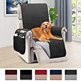 Honest Reversible Recliner Slipcover, Water Resistant Recliner Chair Cover with Side Pockets,Washable Recliner Protector Cover with Elastic Straps for Pets Kids Children Dog(30In,Dark Grey&Grey)
