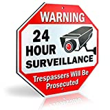 "Signs Authority Reflective Warning 24 Hour Surveillance No Trespassing Metal Sign for Home Business Video Security CCTV Camera 12"" by 12"" Aluminum"