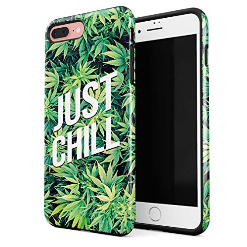 Cover per iPhone 7 Plus & 8 Plus Case Just Chill Mary Jane Weed Take A Hit Puff Puff Blunt Resistente agli Urti, Guscio Rigido a 2 Strati in PC + Custodia Protettiva in TPU a Design Ibrido