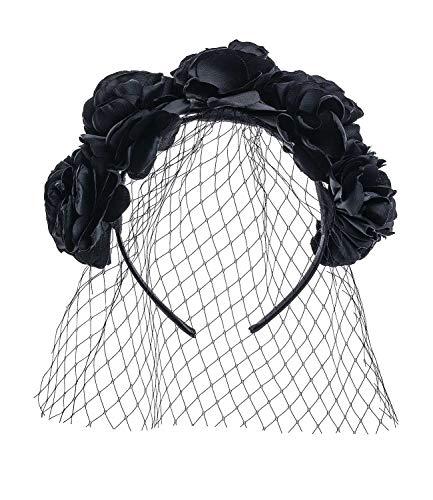 SIX Halloween Haarreif mit schwarzen Blumen und Schleier, Kostüm, Karneval (591-090)