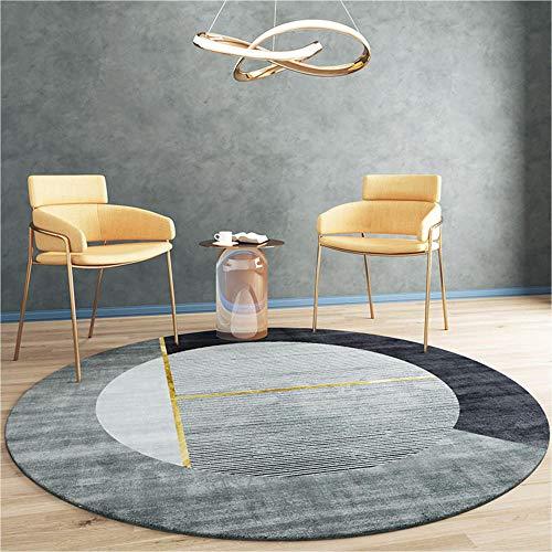 Alfombra geométrica de estilo simple moderno, alfombras redondas de gran área de color negro dorado gris dorado para sala de estar, cocina, alfombras modernas para entrada, alfombra-180 CM-70 pulgadas