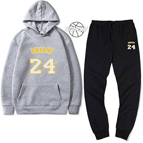 TIANYO Kobe # 24 - Sudadera con capucha y pantalones deportivos para los amantes de baloncesto, estilo casual, para entrenamiento, para jóvenes, casual, para amantes de la moda, color gris y XXXL