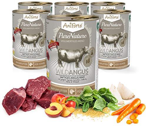 AniForte Natürliches Hunde-Futter Nassfutter WildAngus 400 g Saftiges Angus-Rind mit Hirse, 100% Reine Natur Glutenfrei, Ohne Chemie, künstliche Aromen, Zusätze und Vitamine, 6 x 400g - PureNature