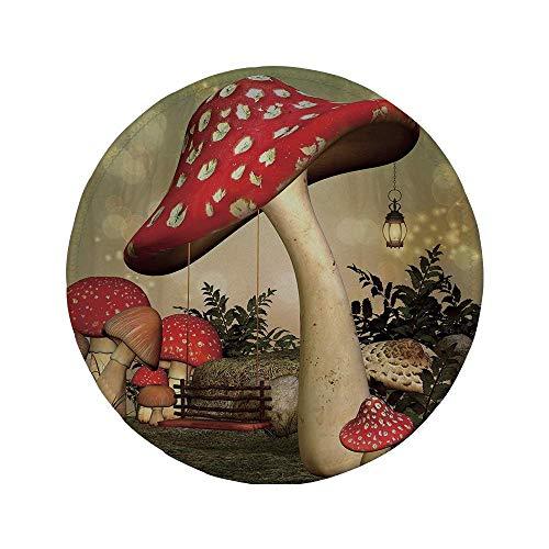 Rutschfreies Gummi-Rundmaus-Pad Pilz Schaukel die an Pilz-Wildgras und Pflanzen hängt Traumhafte Atmosphäre Dekorativ Rot-Elfenbein-Armee-Grün 7,87 'x 7,87' x 3 mm