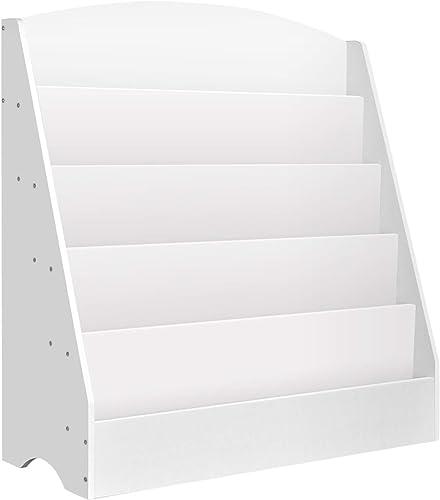Kids Bookcase, Keezi 5-Tier Wooden Kids Bookshelf Magazines Display Rack Stand - White