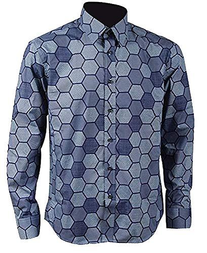 S&S-Herren Hexagon-Hemd, Joker-Hemd, Cosplay-Kostüm - Blau - Herren-Small