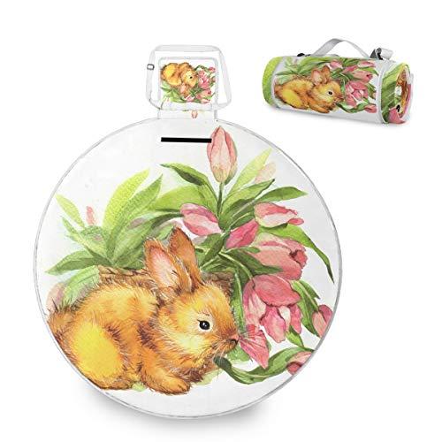 Manta de picnic con diseño de conejito y flor para Pascua, grande, impermeable, práctica esterilla de picnic para la familia, camping, playa, parque redondo, 59 pulgadas