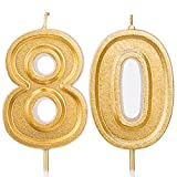 LUTER 2.76 Inches Large Birthday Candles Gold Glitter Birthday Cake Candles Number Candles Cake Topper Decoration for Wedding Party Kids Adults, Number 80