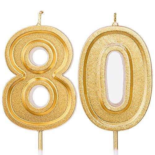 LUTER 7cm Oro Brillo Feliz Cumpleaños Velas De Pastel Velas De Número Vela De Cumpleaños Decoración De Adorno De Pastel para Fiestas Niños Adultos (Número 80)