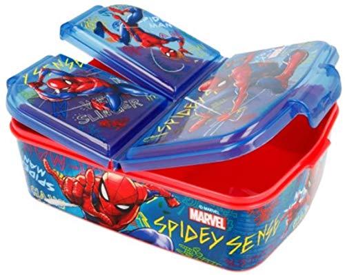 Spiderman Kinder Brotdose, Lunchbox, Sandwichbox, Frühstücks-Box, Bentodose: Eiskönigin 2 Anna Elsa PJ Masks, Avengers, Mickey, Paw Patrol BPA frei, Kindergarten Geburtstag (Spiderman Marvel)