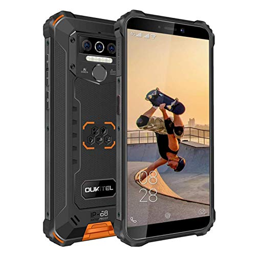 OUKITEL WP5 Móvil Resistente, IP68 Telefonos Movil Impermeable Antigolpes Android 10,4G Batería Grande de 8000mAh Rugged Móvil, 4+32GB 5.5'' HD+ (Gorilla Glass) Dual SIM/GPS 4 Cámaras 4 LED Flash
