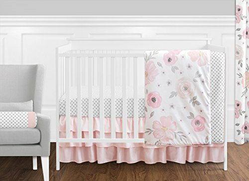 11 pc. Blush Pink, Grey and White Watercolor Floral Baby Girl Crib Bedding Set by Sweet Jojo Designs - Rose Flower Polka Dot