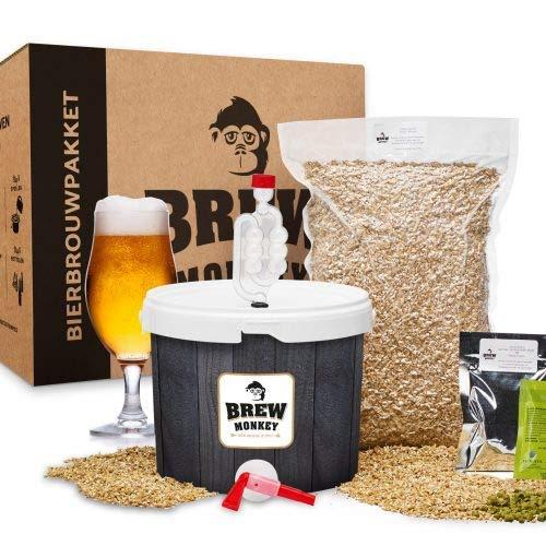 Brew Monkey Basis Blond bierbrouwpakket   bier brouwen in je eigen keuken   bierbrouw starterspakket   bier brouw pakket met verse ingrediënten   herbruikbare vergistingsemmer   verschillende tools   origineel cadeau   vaderdagcadeau   vaderdag gesch
