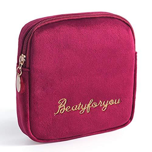 Figutsga Damenbindebeutel, leichte Damenbinde Aufbewahrungstasche Feminine Menstruation Supplies,Rotwein