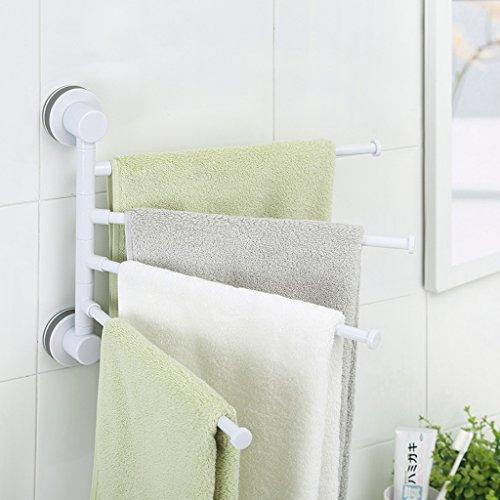 JPVGIA Barras de la Toalla del eslabón Giratorio del Cuarto de baño del ABS, sostenedor de la Toalla con 4 Barras, Carril de la Toalla con Las ventosas Fuertes (Color : Gray)