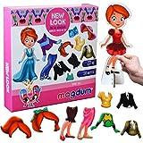 MAGDUM New Look - Muñeca de Vestir magnética, 56 Opciones de Ropa - Muñeca de Vestir magnética para niñas - 23 Piezas de Ropa magnética - Juego para niñas