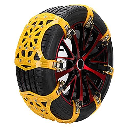 Cadenas de nieve para coche, amarillas universales, 1 unidad antideslizante, portátil, fácil de montar cadenas para neumáticos.