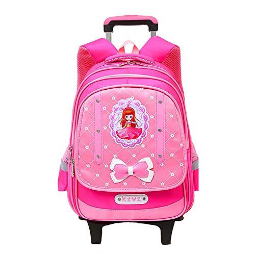 Waterproof Wheeled Rolling Backpack for Girls and Boys School Laptop Books Bag Trolley School Bag Students Backpack Blue GWBI-Pink2