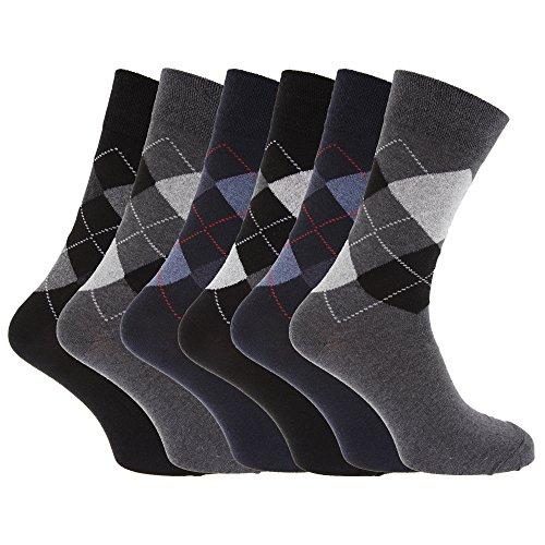 Textiles Universels Chaussettes à motifs losange en mélange de coton pour homme (lot de 6 paires) (EUR 39-45) (Noir/Gris/Bleu marine)