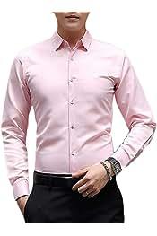 YYG Men Slim Vogue Long Sleeve Embroidery Lapel Button Down Dress Work Shirt