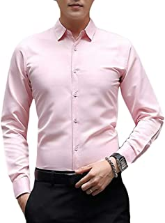 FRPE Mens Formal Slim Fit Solid Long Sleeve Button Up Dress Work Shirt