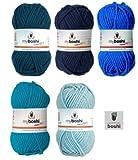 Mix-Sortiment myboshi Blau 5x50g (petrol 154, marine 155, ozeanblau 153, türkis 152, himmelblau 151) + 1 myboshi Label