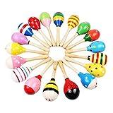 ZTH 3 PCS bunten hölzernen Baby-Kind-Musikinstrument Rassel Shaker-Partei-Kind-Geschenk-Spielzeug (Farbe Random) (Color : Color Random)