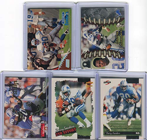 Barry Sanders Detroit Lions Assorted Football Cards 5 Card Lot