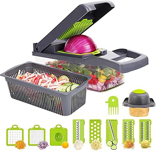 Mandoline Multifonctions,13 pcs Coupe Legume Trancheuse, Découpe Les Fruits et Les légumes, Mandoline légumes Slicer