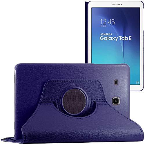 ebestStar - Cover Compatibile con Samsung Galaxy Tab E 9.6 T560, T561 Custodia Protezione Pelle PU con Supporto Rotazione 360, Blu Scuro [Apparecchio: 241.9 x 149.5 x 8.5mm, 9.6'']