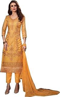 Step n Shop.com Women Organza Pakistani Straight Salwar Kameez Abaya Muslim Casual Wear Indian Suit 4395