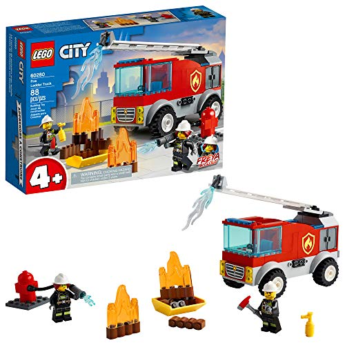 LEGO City Fire Ladder Truck 60280 Building Kit; Fun Firefighter Toy Building Set for Kids, New 2021 (88 Pieces)