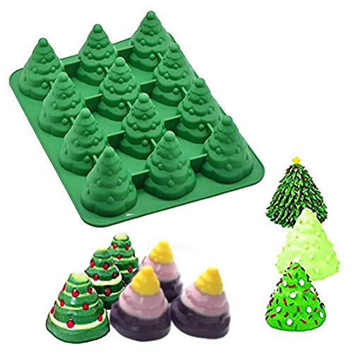 3D Christmas Tree Cake Mould Silicone Cookie Chocolate Baking Mold, Perfect for Holiday Candy, Cake, Cookies, Fudge, Chocolate, Soap, Gummy, Ice Cube and More