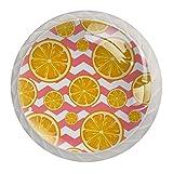(4 piezas) pomos de cajón para cajones, tiradores de cristal para gabinete, hogar, oficina, armario, rodajas, color rosa, Zig Zag Stripes Wave 35 mm