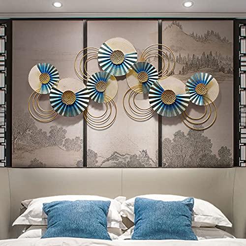 XKUN Arte Creativo Hecho a Mano de Pared del Metal, Esculturas de Pared del Metal de Placa del Círculo, Decoración de Arte de Naturaleza para Sala de Estar Dormitorio