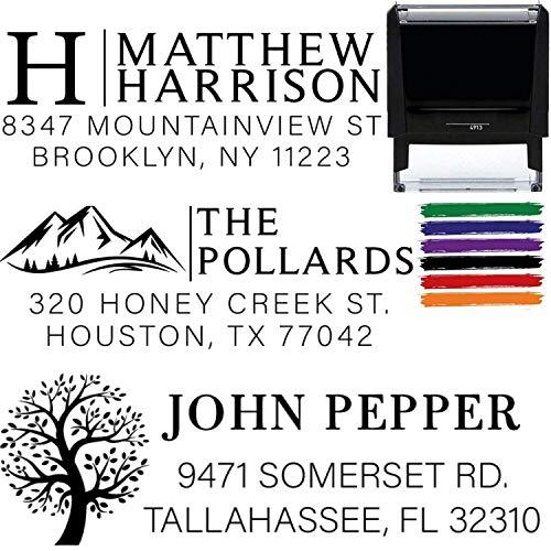 Custom Address Stamps Self Inking or Wood Handle 10+ Designs! Return Address Stamp Rubber Stamper Self Inking Personalized Customized Stamp Return Address Floral Wedding Script Labels Calligraphy Mail