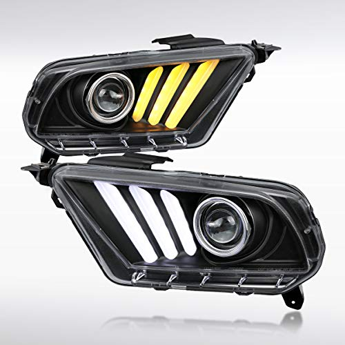 Autozensation For Ford Mustang Black Projector Headlights w/Sequential LED Turn Lights Pair