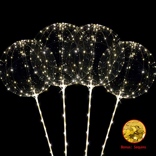 ComboJoy 12Packs Big Light Up BOBO Led Balloons with Stick and Sequins | Transparent Balloons Glow in the Dark, Flicker in the Daylight|Perfect Supply for Glow Stick Party, Birthday Party,Wedding